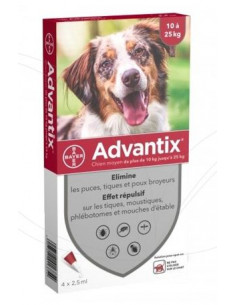 BAYER ADVANTIX SPOT ON CANI KG.10-25 - 4 PIPETTE vendita online