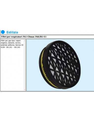 FILTRI PER RESPIRATORI 761 - 760/B1 E1 vendita online